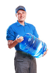 Water delivery courier on  white background