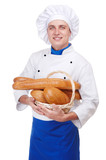 happy baker with white bread isolated on white