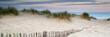 Leinwanddruck Bild - Panorama landscape of sand dunes system on beach at sunrise