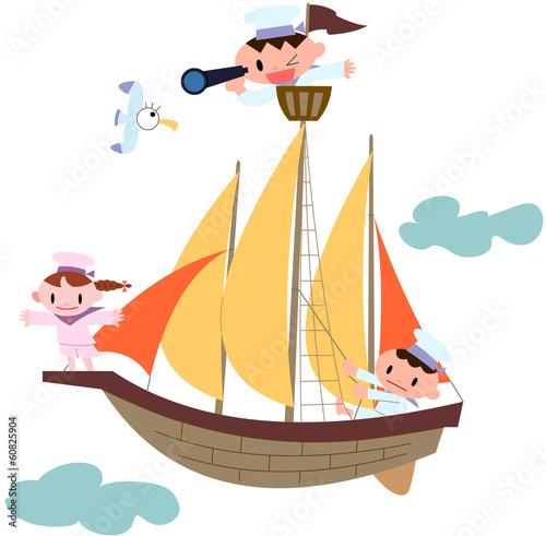 帆船と子ども