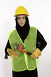Young Arab Woman Dressed For Construction Work