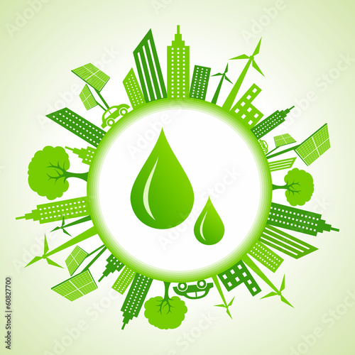 Eco cityscape around water drops stock vector