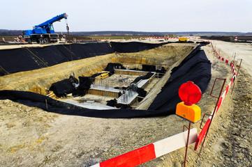 Tiefbau Fundament auf einer Baustelle