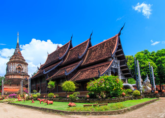 Old wooden church at Wat Lok Molee in Chiang Mai, Thailand