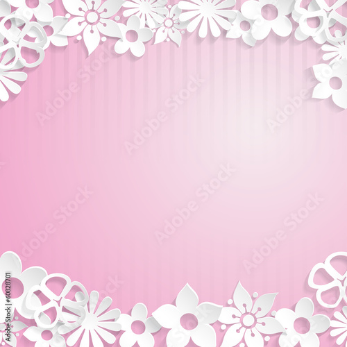 Background with paper flowers, white on pink