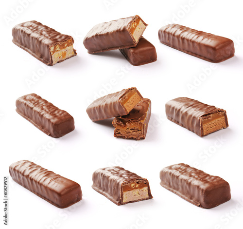 Chocolate bar set with clipping path.