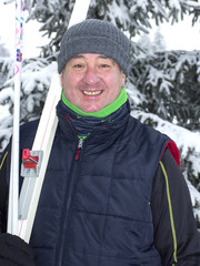 Winter sports enthusiasts with cross-country skis
