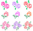 Vivid pastel roses icon in diiferent color and style 2