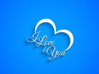 creative text design of I Love You on blue color background.