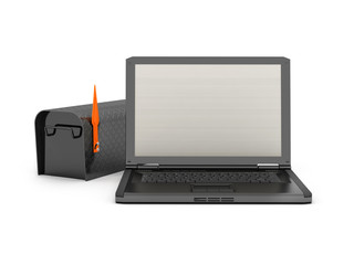 Laptop and black mailbox on white background