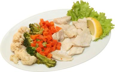 Sea food salad with fresh vegetables, Fish salad