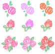 Pastel roses icon in diiferent color and style