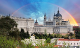 Madrid, Almudena Cathedral wtih rainbow, Spain