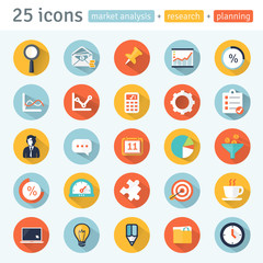 MARKET ANALYSIS.  flat app icons for web & mobile. Set 1 of  8