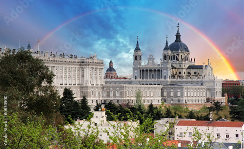 Fotobehang Madrid Madrid, Almudena Cathedral wtih rainbow, Spain