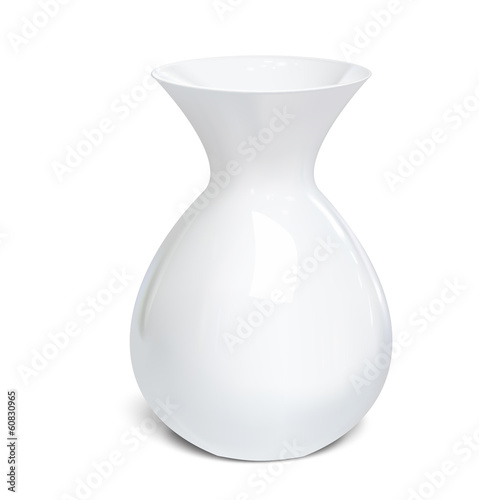 White vase isolated on a white background. Vector illustration
