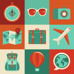 Vector flat icons - travel and vacation
