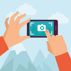 Vector flat illustration -mobile photography