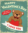 Vintage Valentine poster design with teddy bear