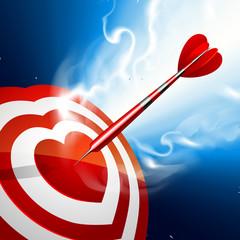 Love darts. Heart target