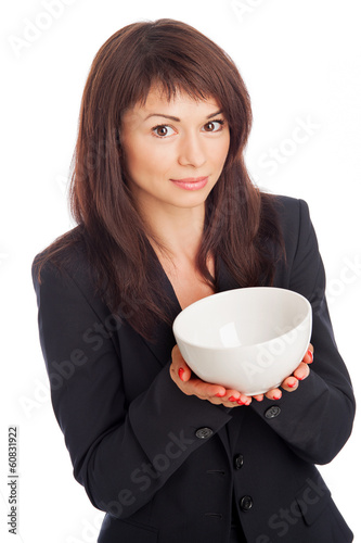Pretty Woman Holding Empty Bowl.