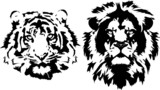 tiger and lion heads in black interpretation