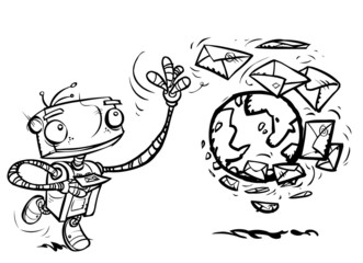 Cartoon Mail Robot character. Outline version.