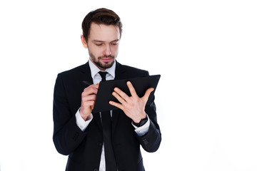 Businessman using a portable notepad computer