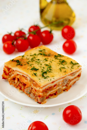 Italian lasagna with meat and tomatoes. Macro.