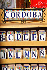Tile letters, Córdoba, Andalusia, Spain