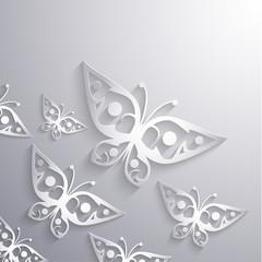 Paper 3d butterflies background