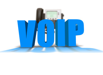 VOIP text with IP Phone in the background