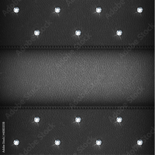 Luxury black leather background with diamonds