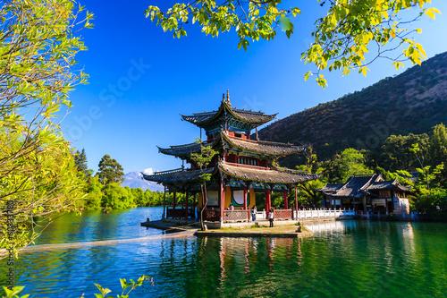 Fotobehang Overige Lijiang old town scene-Black Dragon Pool Park