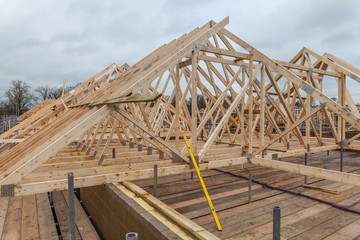Wood house truss