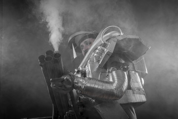 Exploration, Astronaut on a black background with huge weapon.
