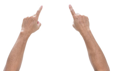 Hand pointing isolated on white background, clipping path
