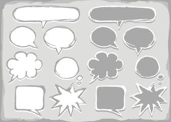 puste dymki rozmów na białym tle zestaw kształtów  monochrom