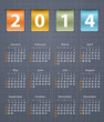 Stylish calendar for 2014 on linen texture with leather insertio