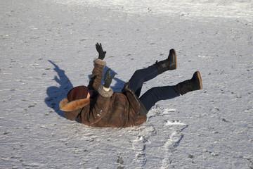 Slippery ice.