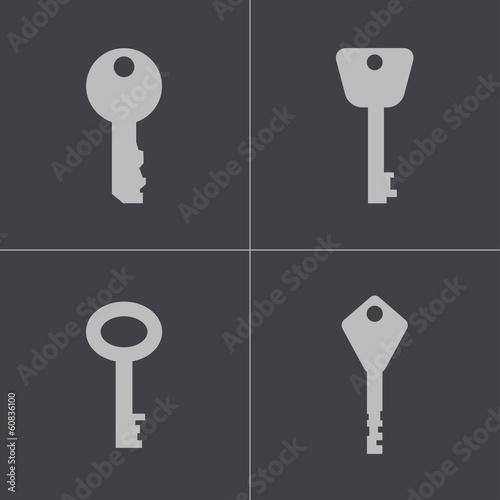 Vector black key icons set
