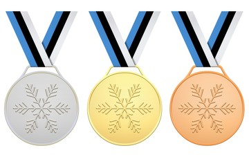 Medals with blue, black, white ribbon for Winter games