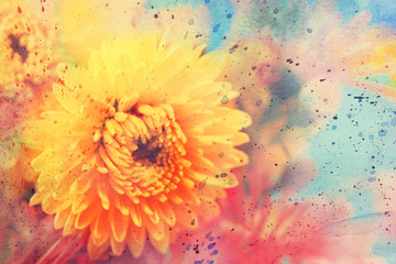 watercolor artwork with beautiful yellow aster
