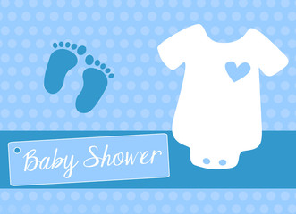 baby shower invitation card for baby boy with infant bodysuit