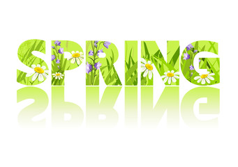 spring, grass, letters