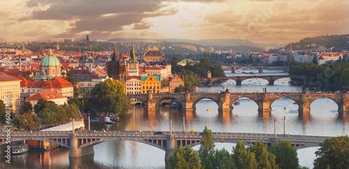 Poster Prague, view of the Vltava River and bridges