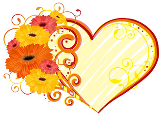 Love, heart of gerbera