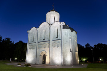 St. Demetrius Cathedral at Vladimir at night. Russia