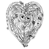 Original drawing doddle heart. - 60838118