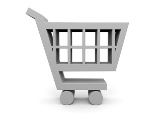 Shopping trolley 3D illustration